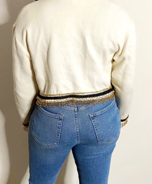 Image of Vintage Cream Cropped Beaded Jacket - M