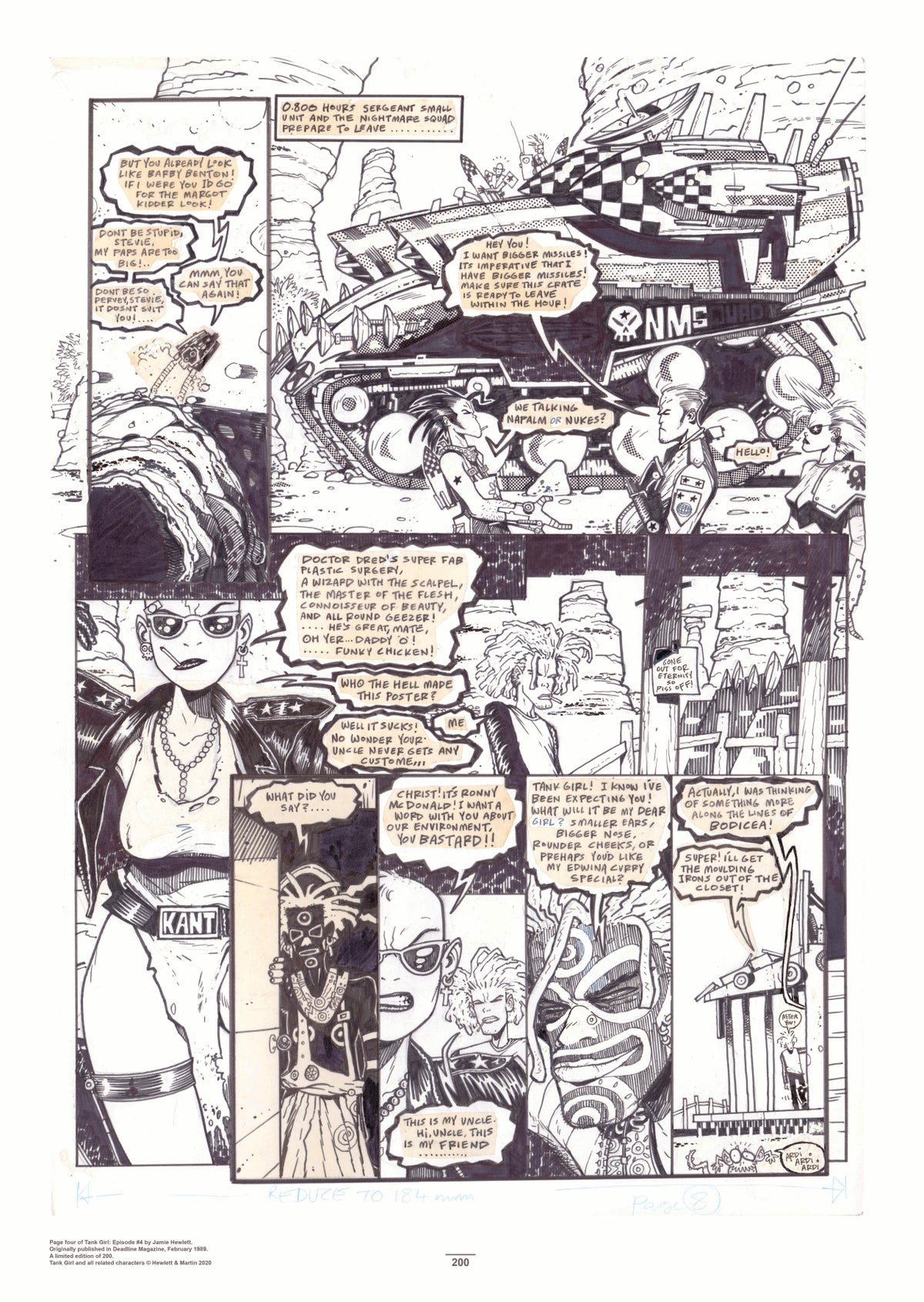 Image of TANK GIRL ORIGINAL ARTWORK 5 PRINT SET (plus FREE GREEN BURNING SAUSAGE PATCH!)