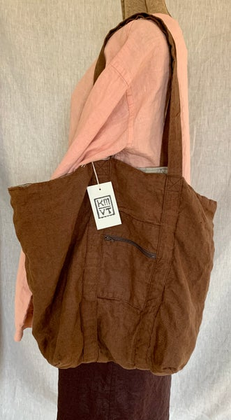 Image of linen tote in brown