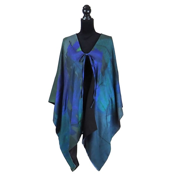 Image of Autumn Leaves Blue Kimono