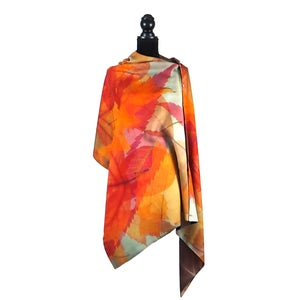 Image of Autumn Leaves Camel Button Shawl