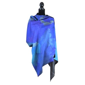 Image of Autumn Leaves Blue Button Shawl