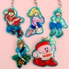 Mario streetwear acrylic charms, with kirby and link
