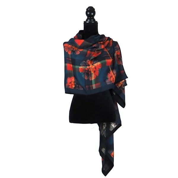 Image of Paris Tartan Rouge Button Shawl
