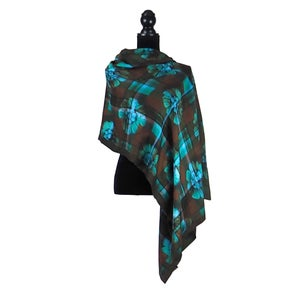 Image of Paris Tartan Green Button Shawl