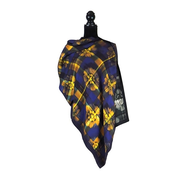 Image of Paris Tartan Royal Gold Button Shawl