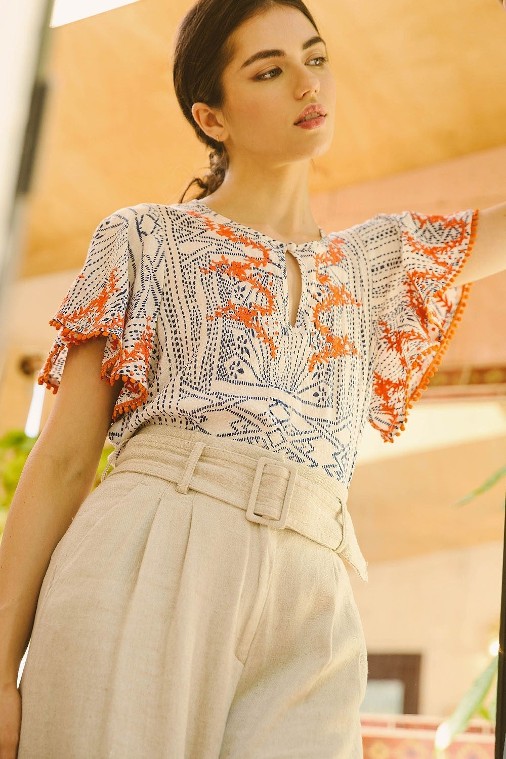 Image of Marisol Flutter Sleeve Top