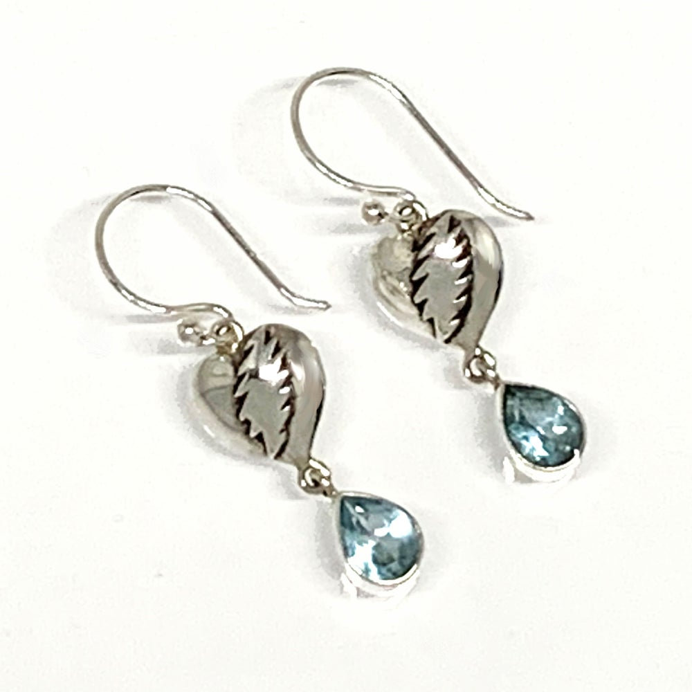 Image of NFA Heart with Bolt & Faceted Stone Earrings
