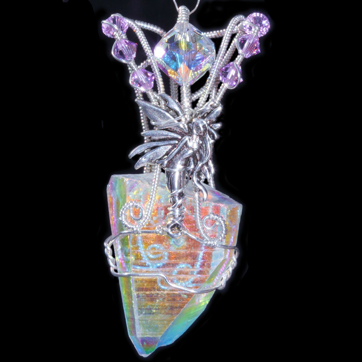 Angel Aura Quartz Crystal Handmade Pendant with Pixie Fairy
