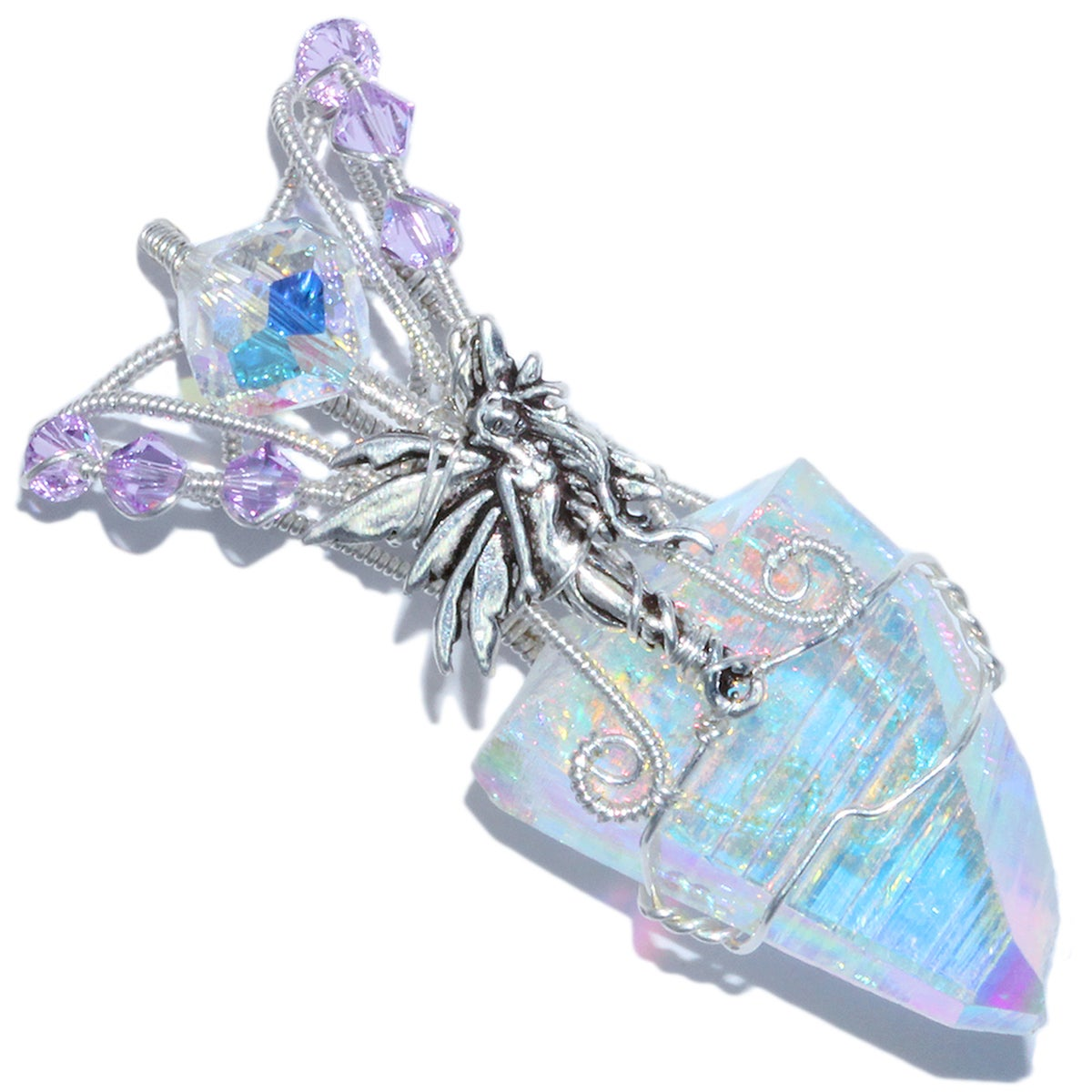 Angel Aura Quartz Crystal Handmade Pendant with Pixie Fairy