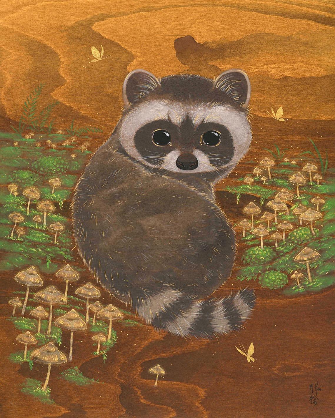 Raccoon and Wild Mushrooms
