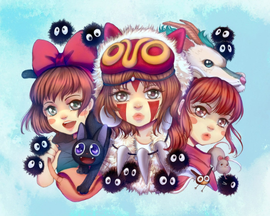 Image of Ghibli Gals - Glitter - Limited Edition Print