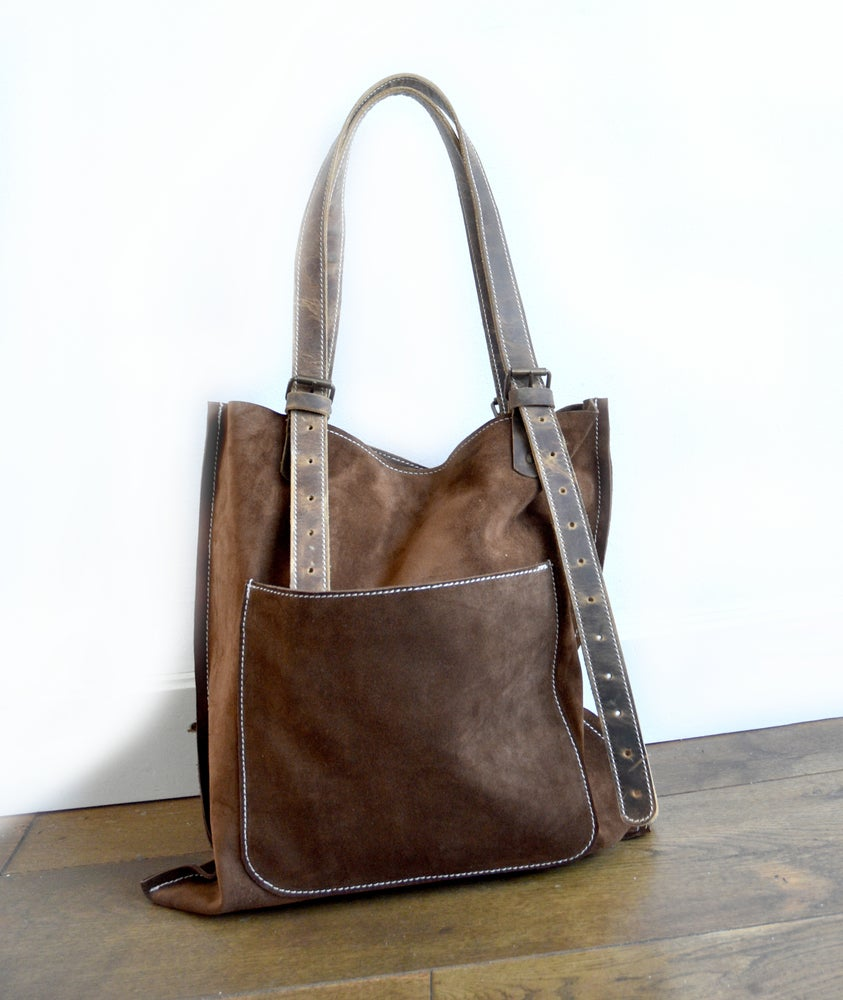 Image of Brown Leather Shoulder Bag, Tobacco Colored Suede Bag