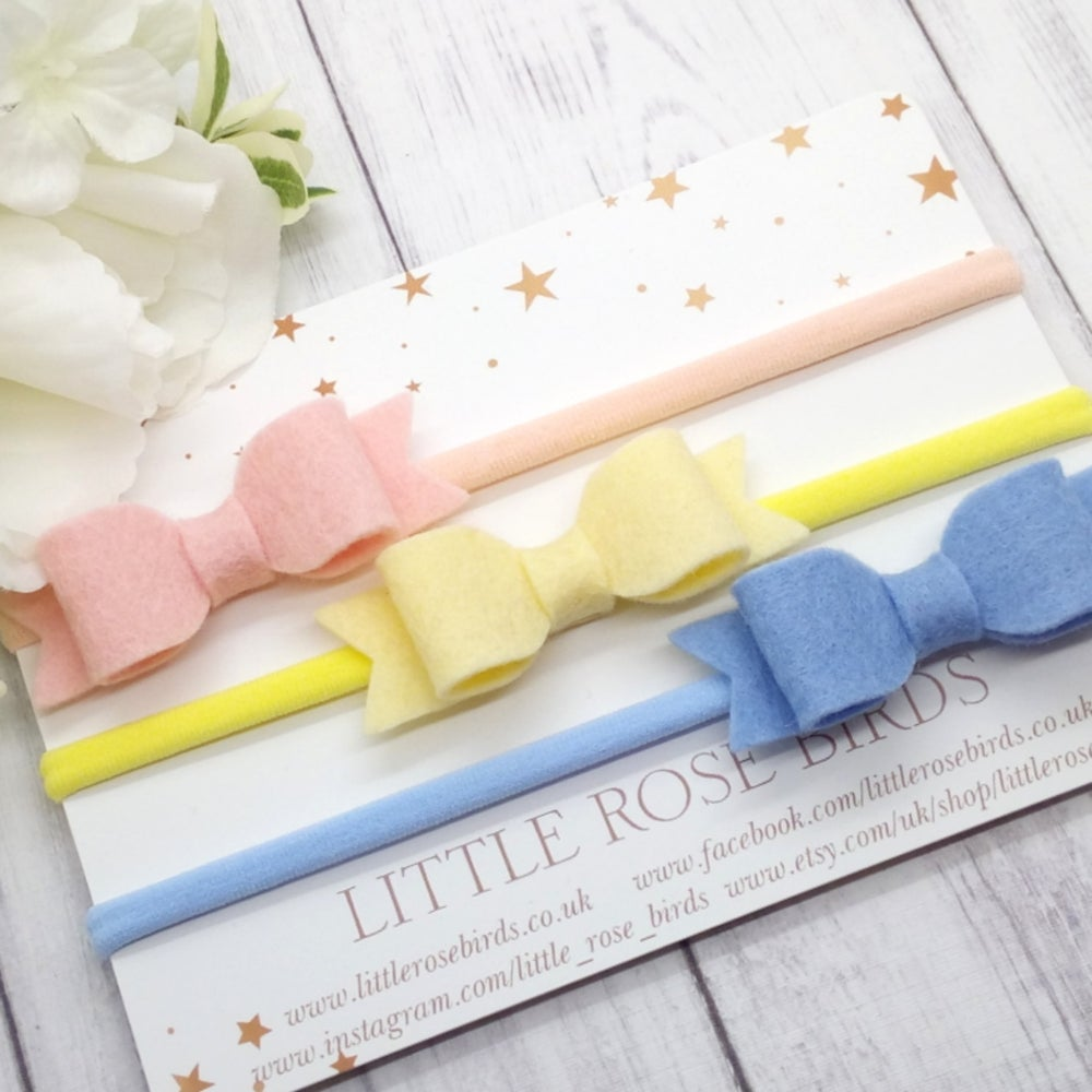 Image of SET OF 3 Blush / lemon / Blue Bows on Clips or Headbands