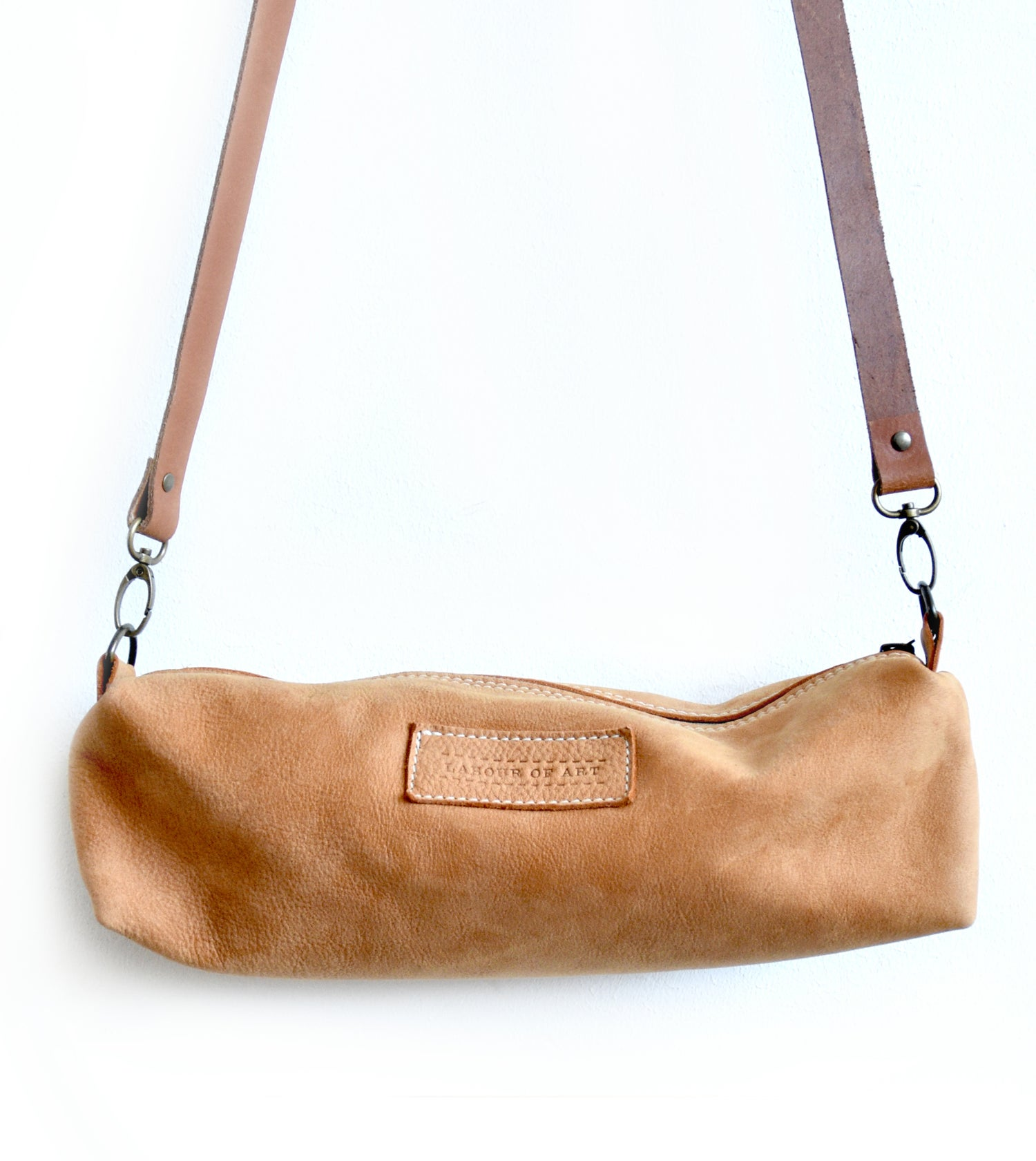Image of Smooth Cognac Colored Leather Zip Bag, Double Faced Leather