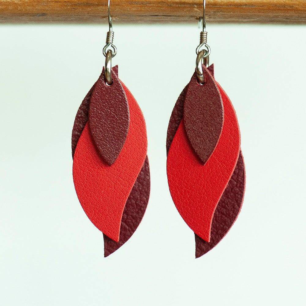 Image of Handmade Kangaroo leather leaf earrings - Red and Burgundy [LRD-093]
