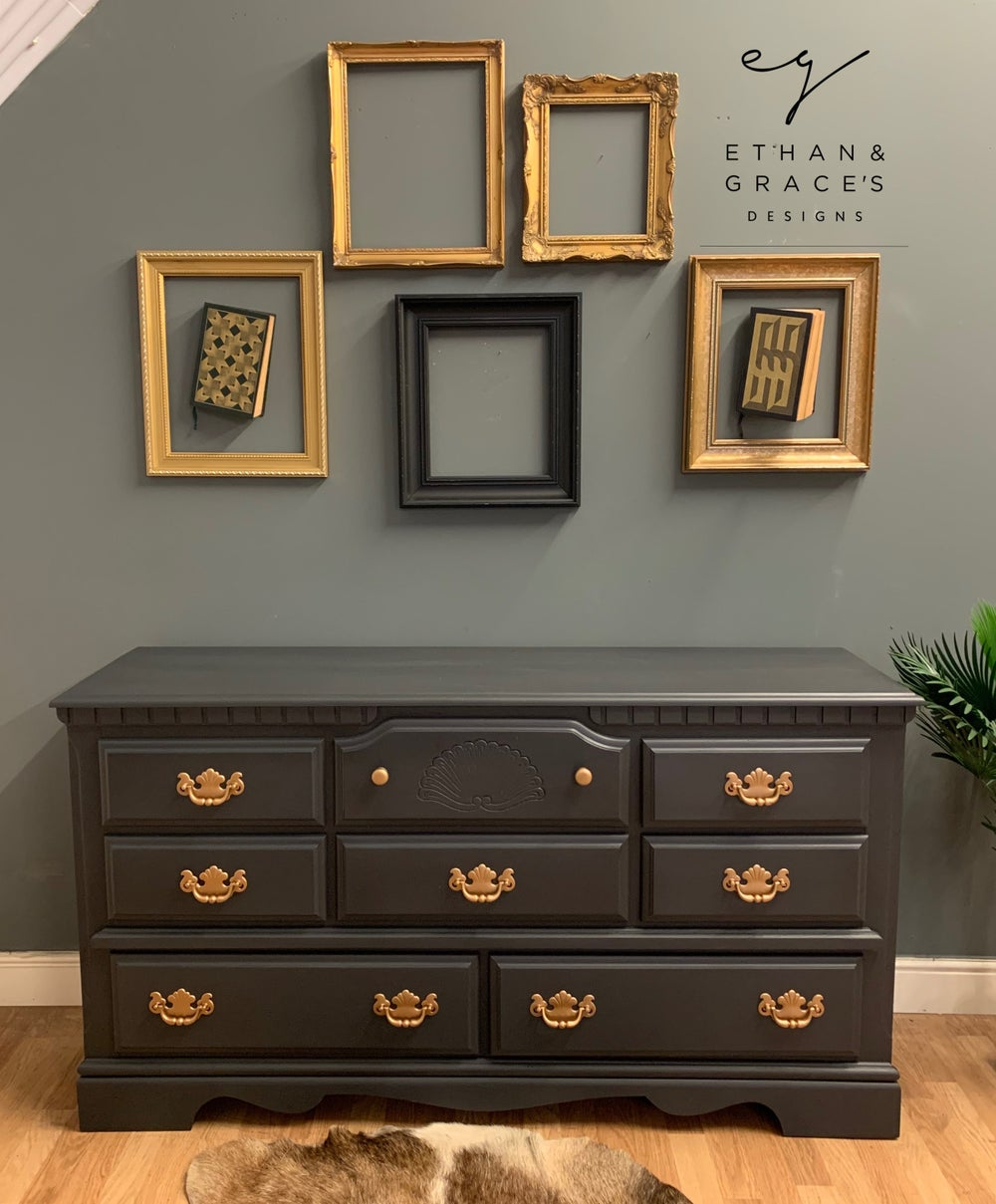 Image of Dark grey low chest of drawers