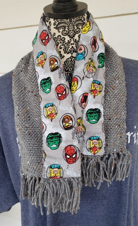 Image of Retro Superheroes themed handwoven scarf, handmade