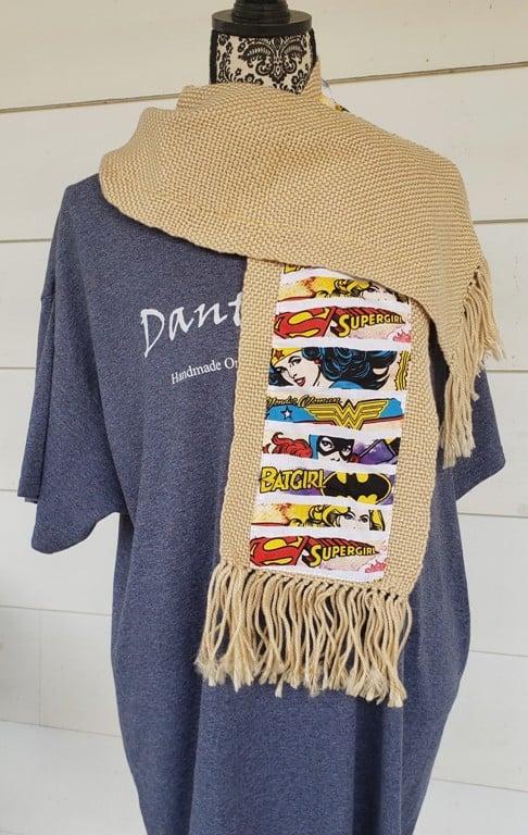 Image of Female superheroes themed handwoven scarf, handmade