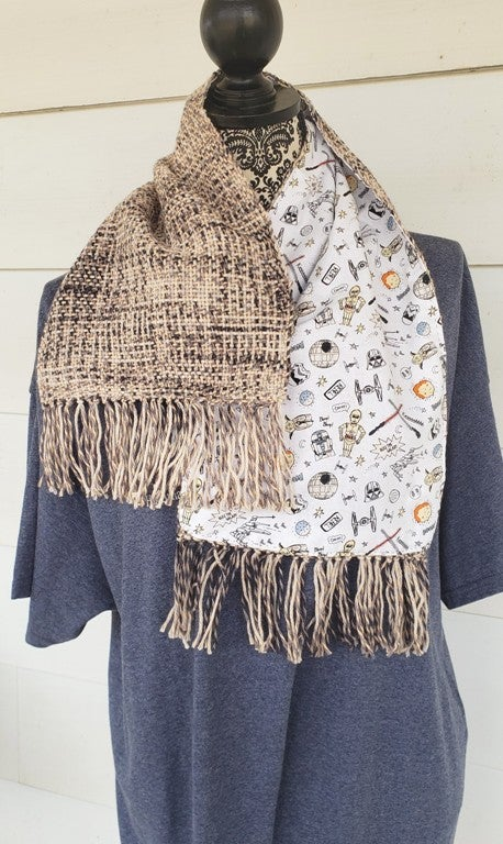 Image of Space SciFi Doodles Themed handwoven scarf, handmade