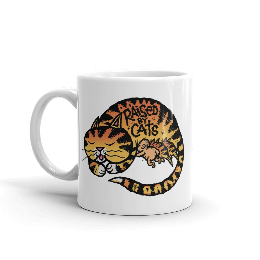 "Image of ""Raised by Cats"" coffee mug"