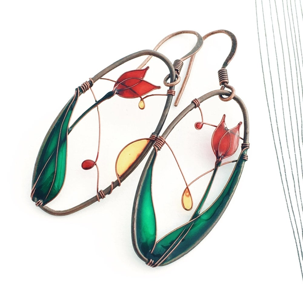 Image of Red Tulips Earrings