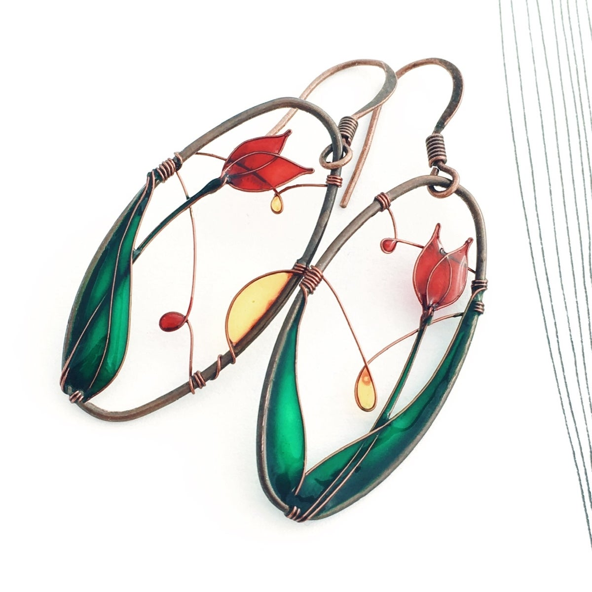 Image of Red Tulips Earrings