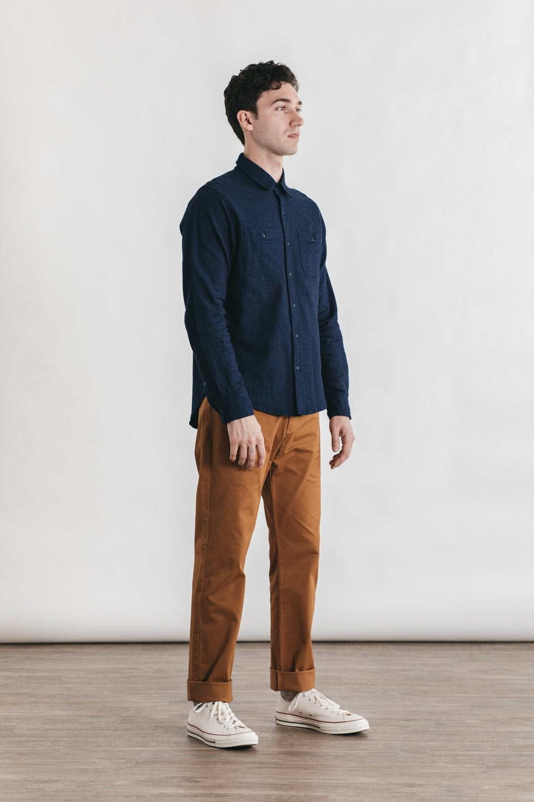 Image of Bridge + Burn Winslow Button Down - Indigo Grid