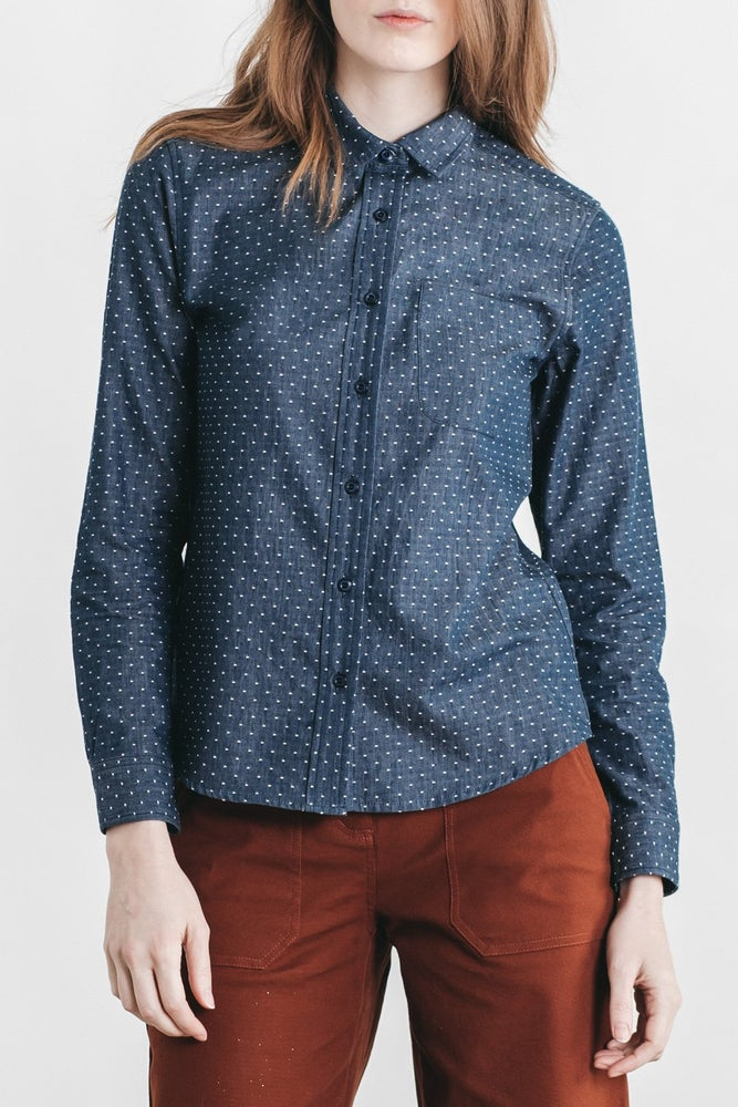 Image of Bridge + Burn Ash Button-down - Navy Polkadot