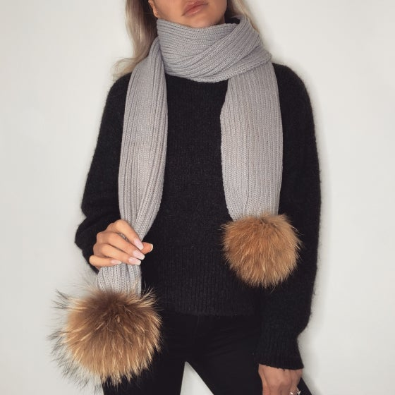 Image of Pale Grey Pom Pom Scarf