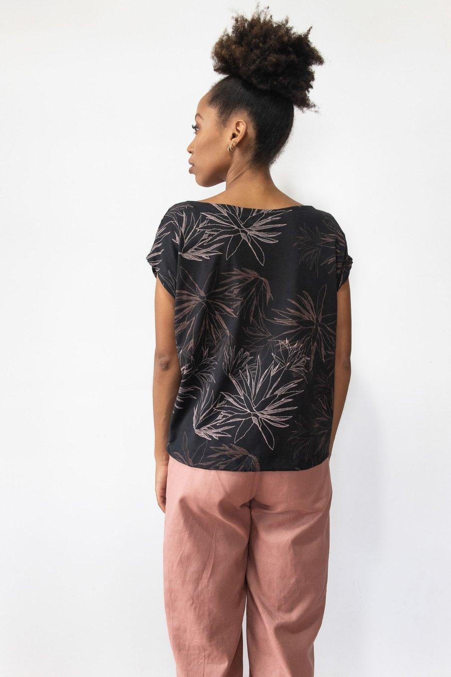 Image of Keang Top - Black Cactus Print