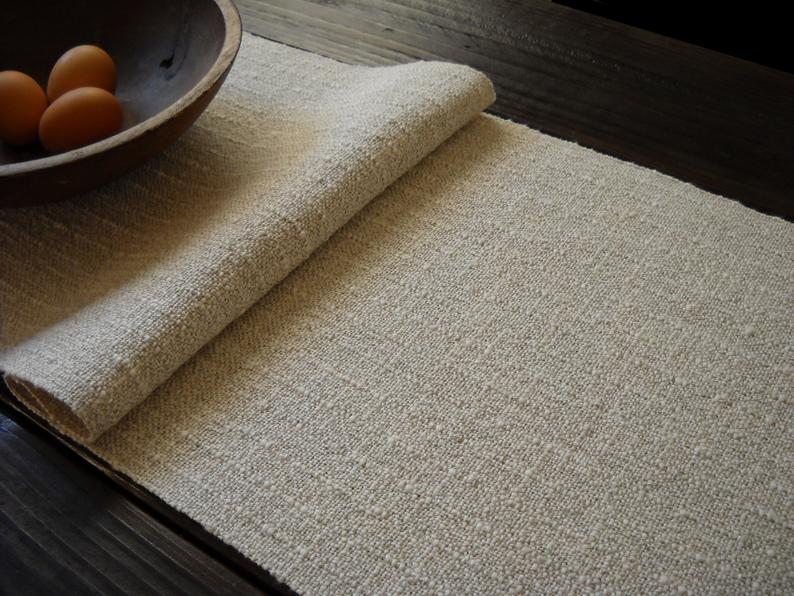 """Image of Nubby Woven Table Runner, Off-White Handwoven Linen and Cotton, Natural Home Decor 14.25""""x81.5"""""""