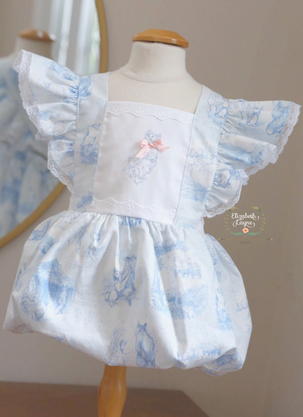 Image of Blue & White Toile Beatrix Potter Legacy Bubble