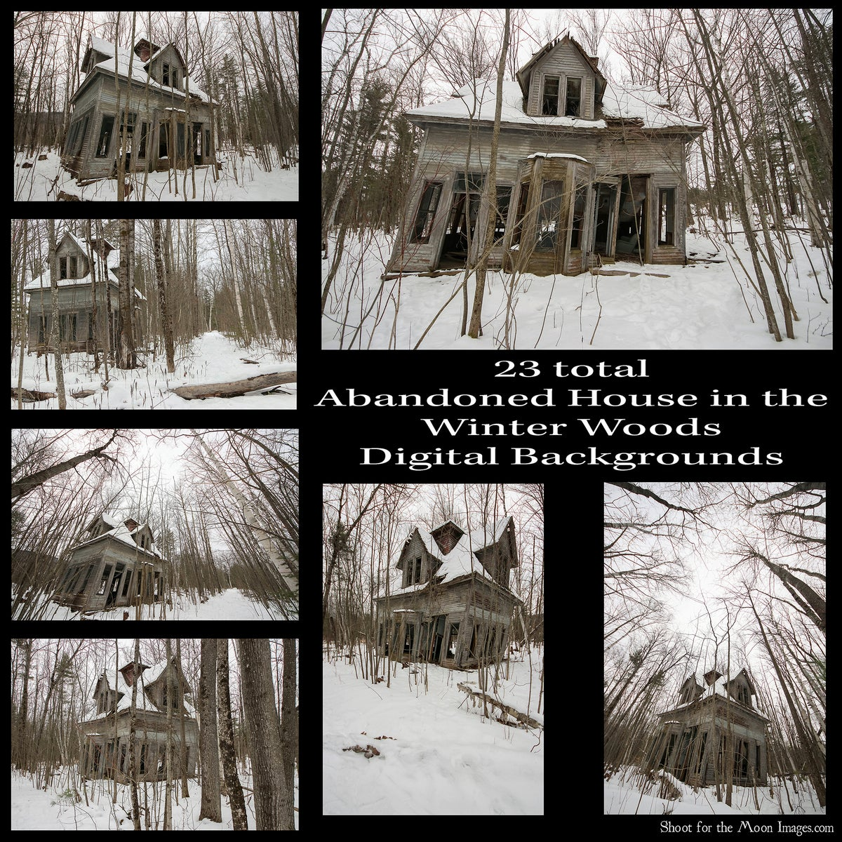 Image of Abandoned House in the Winter Woods Digital Backgrounds