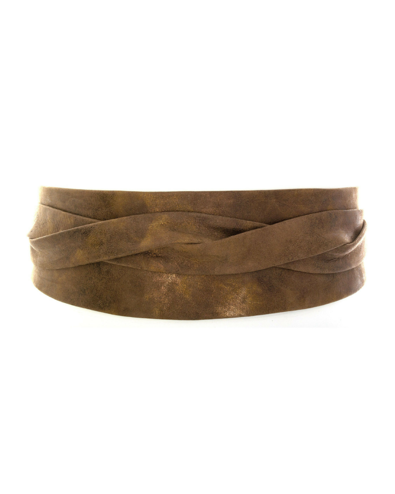 Image of Ada Wide Metallic Leather Wrap Belt