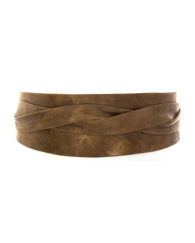 Image of Ada Wide Metallic Leather Wrap Belt