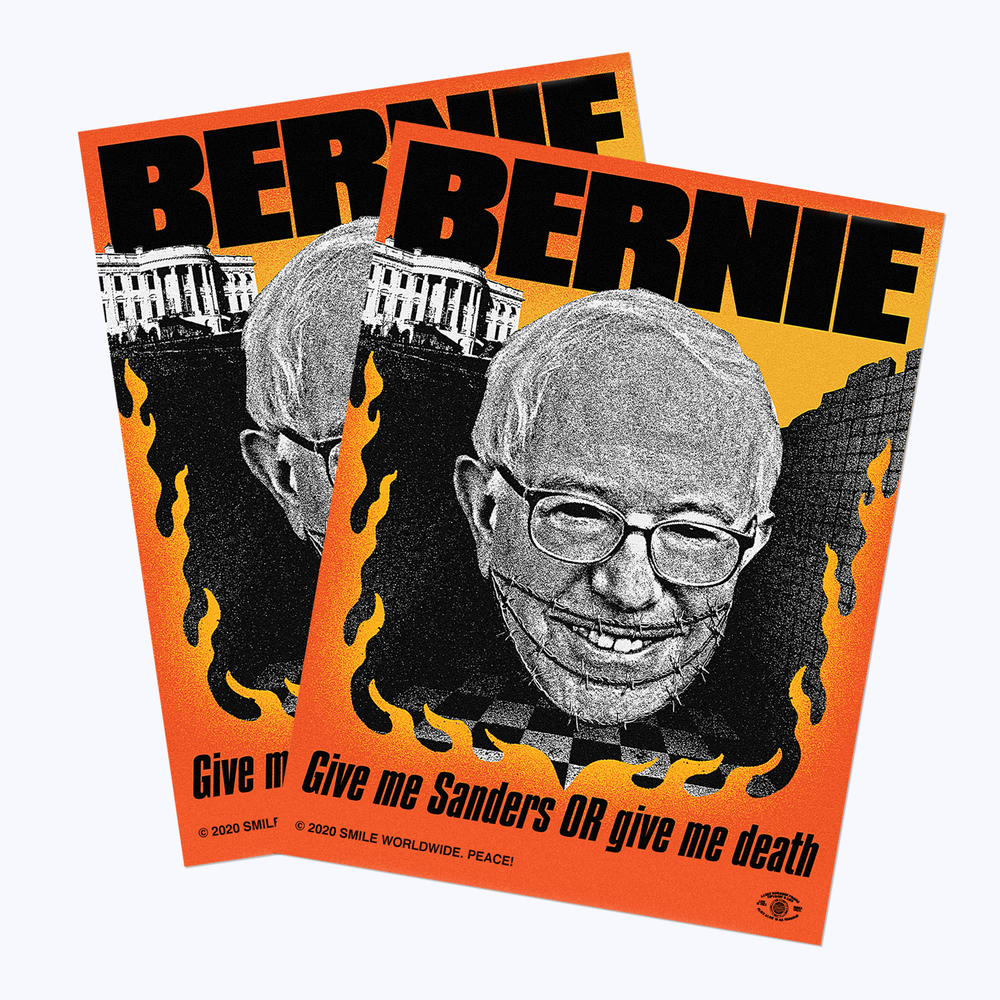 "Image of Bernie ""Give Me Sanders Or Give Me Death"" 3x4"" Vinyl Sticker"