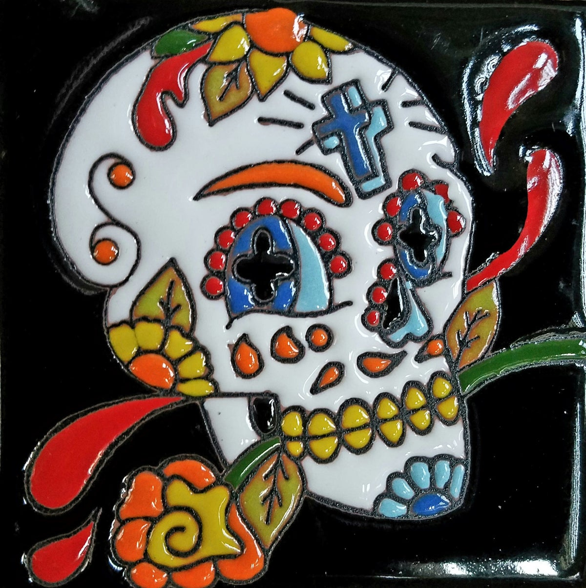 Image of Calavera Cruz Coaster Tile