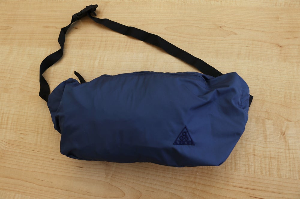 Image of Vintage 1990's Nike ACG Navy Blue Packable Anorak Jacket Sz.XL (Women's)