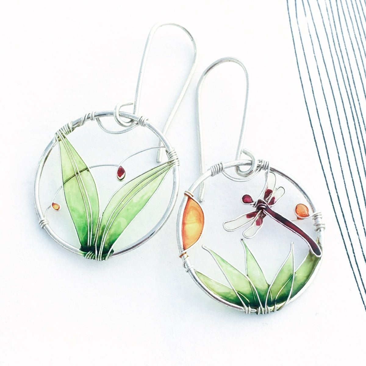 Image of Silver Dragonfly Earrings
