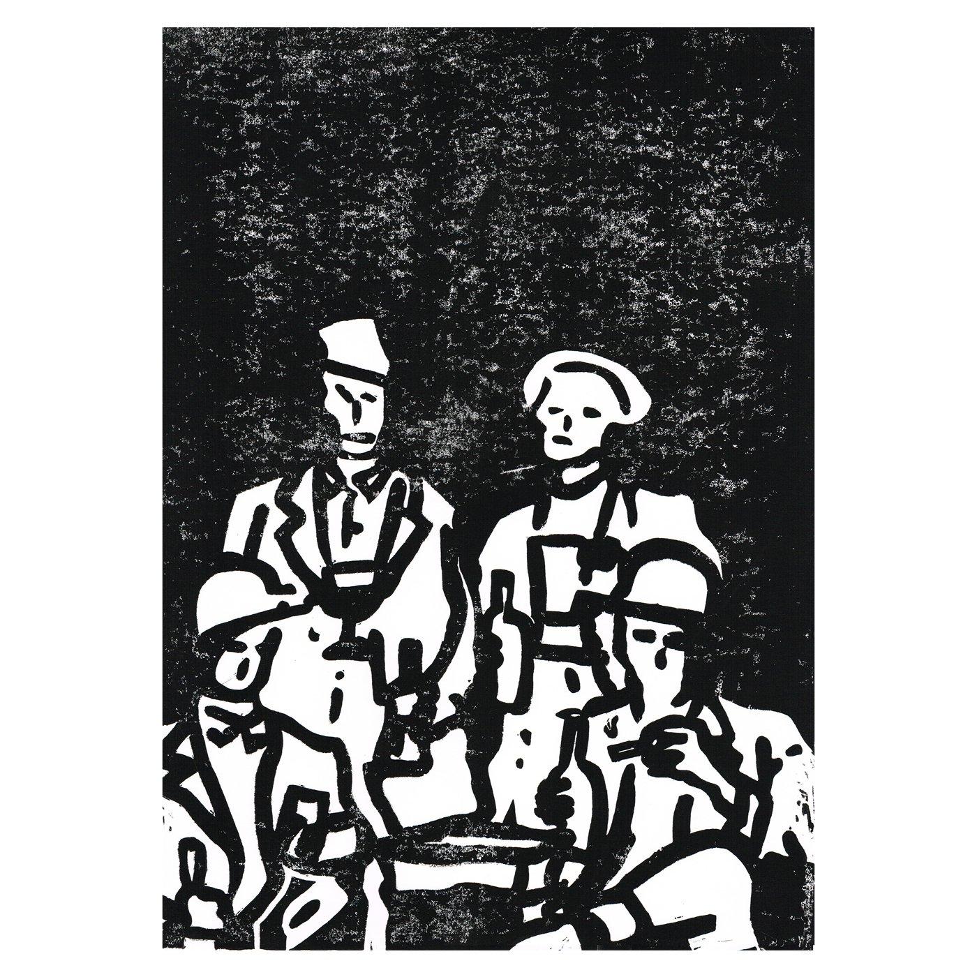 Au bar / Linogravure