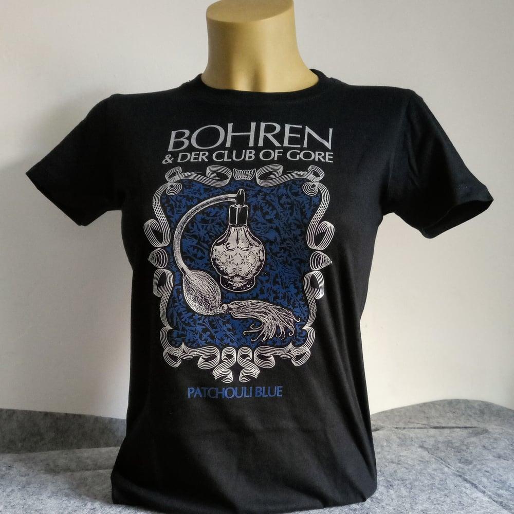 Image of Patchouli Blue (Women-Shirt, print silver-blue on black)