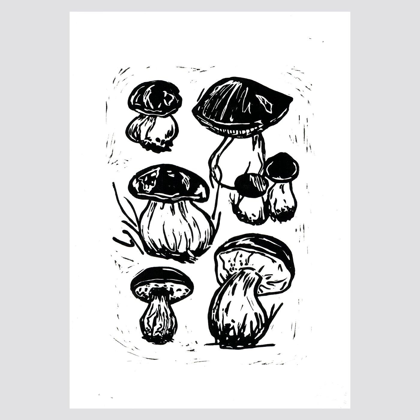 Bolets / Linogravure