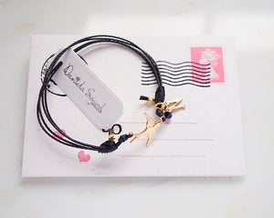 Image of Personalised swallow friendship bracelet, black