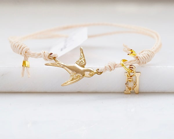 Image of Personalised swallow bracelet, beige