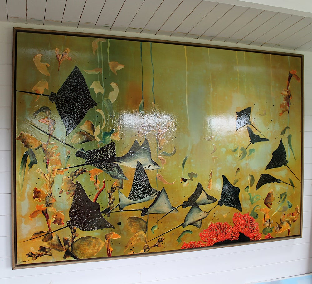 """Image of Spotted Eagle Rays -Canvas Commission - 48"""" X 72"""""""