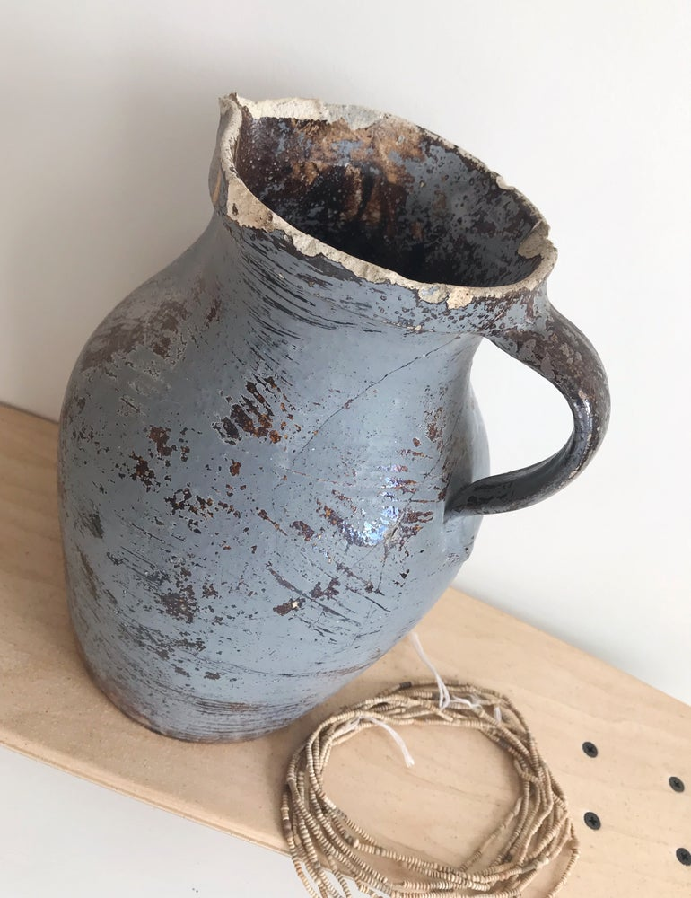 Image of Vintage Clay Pottery Pitcher