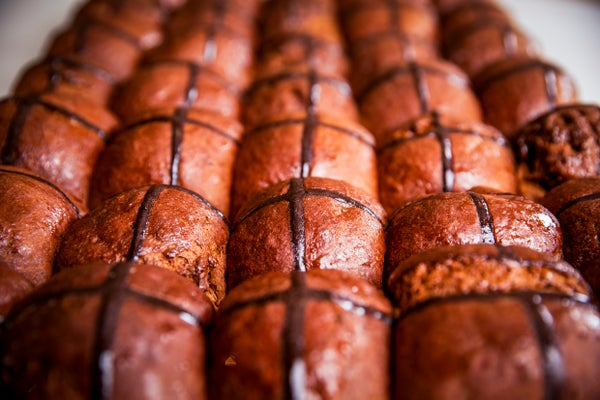 Image of 4 Chocolate Hot Cross Brioches