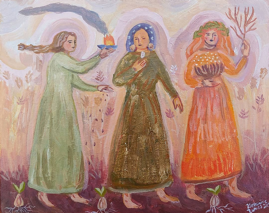 Image of Earth Women on the March | 8x10 Original painting on canvas
