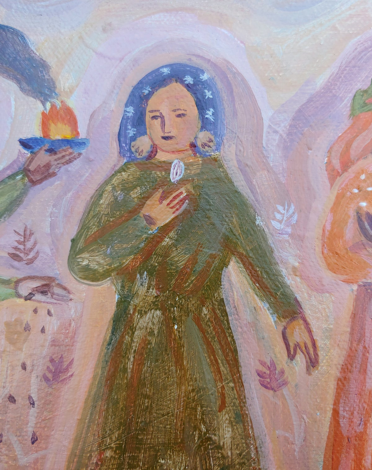 Image of Earth Women on the March   8x10 Original painting on canvas